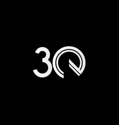 30 years anniversary celebration white line vector