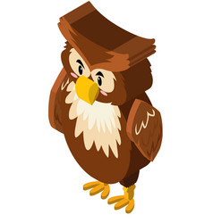 3d design for owl with brown feather vector image