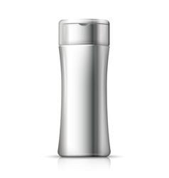3d realistic aluminum shampoo bottle vector