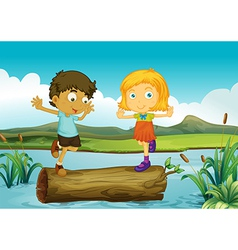 A girl and boy above trunk floating vector