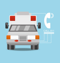 ambulance car with phone number to urgency vector image