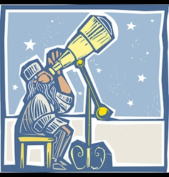 Astronomer at night vector