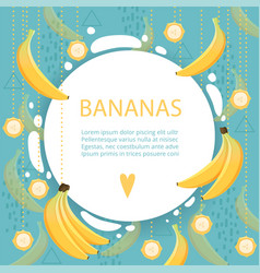 banana background placard with healthy fruit food vector image