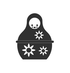 Black icon on white background russian doll vector
