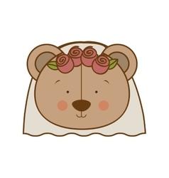 Bride teddy bear character icon image vector