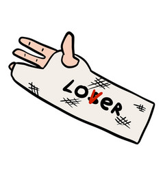 Broken arm cast doodle with lover loser text vector