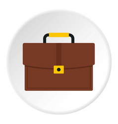 brown business briefcase icon circle vector image