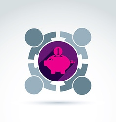 Business team working on personal finances icon vector image