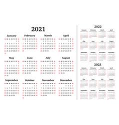 Calendar for 2021 2022 2023 years week vector