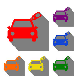 car sign with tag set of red orange yellow vector image