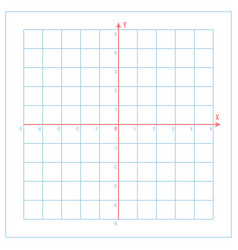 Cartesian coordinate system on blue graph paper vector