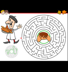 cartoon maze game with baker and croissant vector image