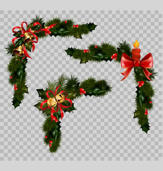 christmas decoration fir holly wreath bow ribbons vector image