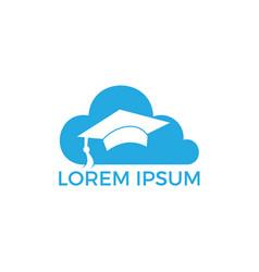 cloud and graduation cap logo design vector image