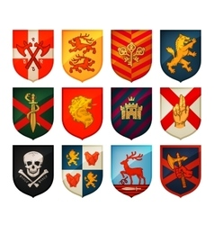 Collection of medieval shields and coat arms vector image