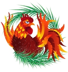 Colorful cartoon rooster with fir branch symbol vector