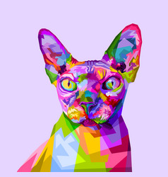 Colorful sphynx cat on pop art style vector