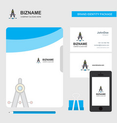 compass business logo file cover visiting card vector image