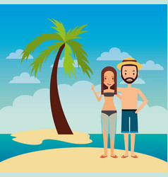 couple embrace happy in island beach tropical palm vector image