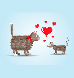 couple of lovers funny cartoon cat and rat with vector image