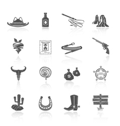 Cowboy Icons Black vector