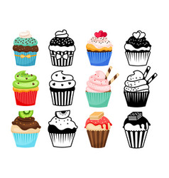 Cupcake colorful and silhouettes set vector