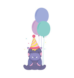 Cute and little hippo with party hat and balloons vector