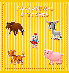 Cute cartoon farm animals on sticker vector