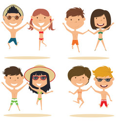 cute couples jumping on the beach vector image