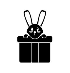 cute rabbit hiding gift box surprise pictogram vector image