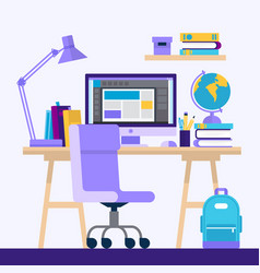 desk with computer and books concept vector image