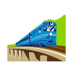 diesel train locomotive retro viaduct bridge vector image