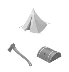 Different kinds of tents monochrome icons in set vector