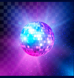 disco ball with bright rays and bokeh music and vector image
