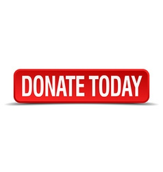 Donate today red 3d square button isolated on vector