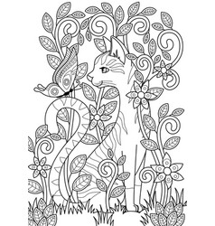 doodle coloring book page cute cat and butterfly vector image