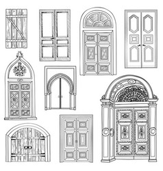 Door set collection of vintage hand drawn doorway vector