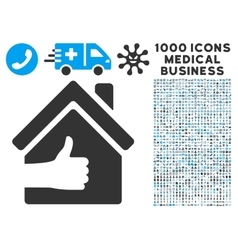 Excellent House Icon with 1000 Medical Business vector