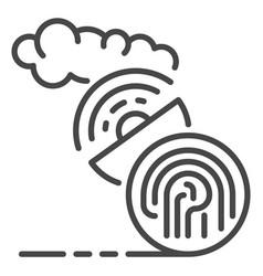fingerprint satellite signal icon outline style vector image