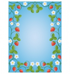 floral frame with a strawberry vector image