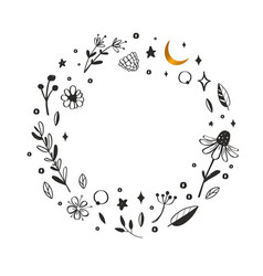Floral wreath frame hand drawn rustic vector