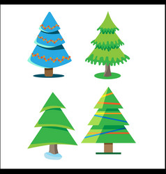 Four christmas trees with different colors and vector