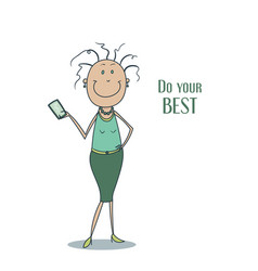 funny cute smiling woman in a green dress with vector image