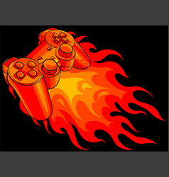 game pad with a fire for gaming vector image