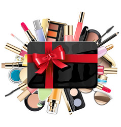 Gift card with cosmetic vector