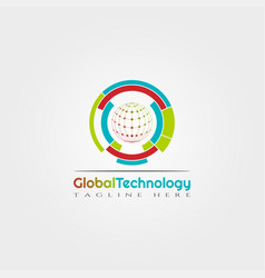 Global technology icon template creative logo vector
