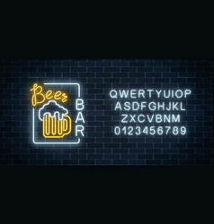 glowing neon beer pub signboard in rectangle vector image