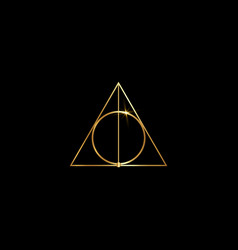 Gold sacred magic geometry occult symbol isolated vector