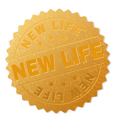 Golden new life medallion stamp vector