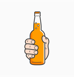 Hand hold beer bottle male hand holding a beer vector